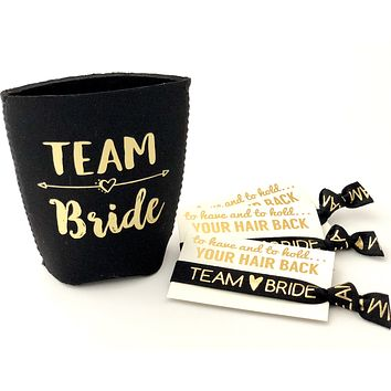 Team Bride Can Cooler + Team Bride Hair Tie | Bachelorette Party Favors | To gave & to hold