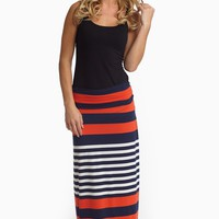 Red Navy White Alternating Striped Maxi Skirt
