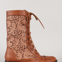 LA-30 Lace Military Lace Up Mid Calf Boot