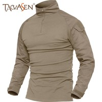 TACVASEN T-shirts Men Summer Tactical Tees Soldiers T-shirt Long Sleeve Hiking Clothes for Hunting Breathable Tee Tops Male 5XL