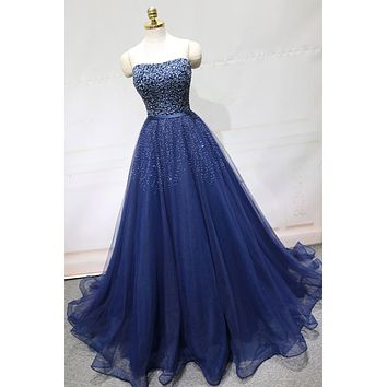 Blue Prom Dresses Beaded Bodice 2021, Evening Dress, Formal Dress, Ball Gown CD0118