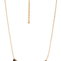 FOREVER 21 Dainty Beaded Pendant Necklace Black/Gold One