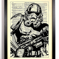 Star Wars Stormtrooper Repurposed Book Upcycled Dictionary Art Vintage Book Print Recycled Vintage Dictionary Page Buy 2 Get 1 FREE