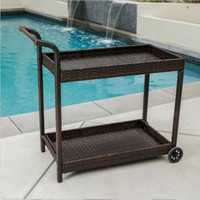 Wheeled Bar Cart Resin Wicker Sturdy Outdoor Patio Furniture Multi-Brown Finish