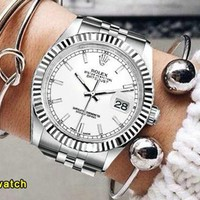 Rolex Newest Fashion Women Men Cool Business Sport Movement Lovers Watches Wrist Watch Silvery