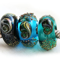 Large hole beads, European charms, Ocean colors - Black, Blue, Teal - bracelet beads, Lampwork glass, European style, SRA, by MayaHoney