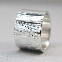 Abstract Silver Wedding Band