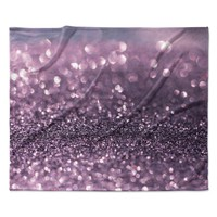 "Debbra Obertanec ""Lavender Sparkle"" Purple Glitter Fleece Throw Blanket"