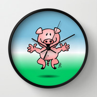 Cheerful little pig Wall Clock by Cardvibes