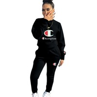 Champion Autumn And Winter New Fashion Letter Logo Print Long Sleeve Top And Pants Sports And Leisure Two Piece Suit Black