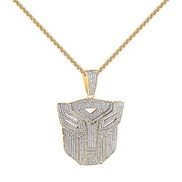 "14k Gold Finish Transformers Face Pendant Full Iced Out Simulated Diamond 24"" Free Chain"