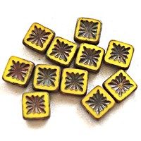 Ten 10mm x 10mm square opaque yellow carved, table cut, picasso Czech glass beads, front and back carved C6701