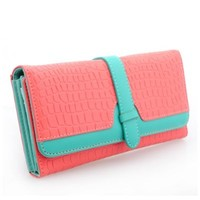 OFTEN® Card Coin Long Lady Purse Synthetic Leather Double Button Women Wallet (Rosy)