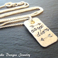 Sterling silver carpe diem necklace seize the day