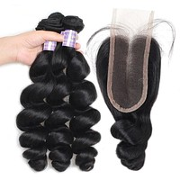Loose Wave Weave With Closure Indian Hair Bundles With Closure