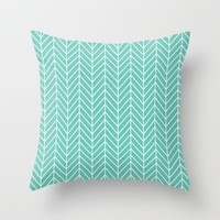 Turquoise Herringbone Pattern Throw Pillow by Smyrna