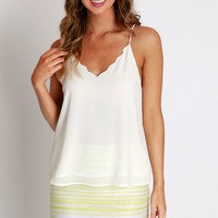 Scallop Criss Cross Tank Off White