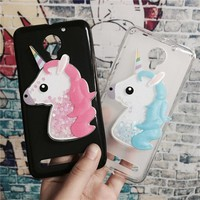 3D Unicorn Quicksand Liquid Soft Silicone Case for Lenovo Vibe C2 / C2 Power K10A40 Phone Cover Cartoon Diamond Funda Coque
