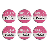 Peace Hello My Name Is Plastic Resin Button Set of 6