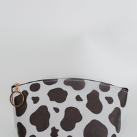 Pulse Perk- Cow Print Cosmetic Bag- Black & White