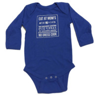 Eat At Mom's Baby Long Sleeve Onesuit {Blueberry}