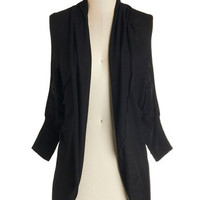 ModCloth Mid-length 3 Reading by the River Cardigan in Black