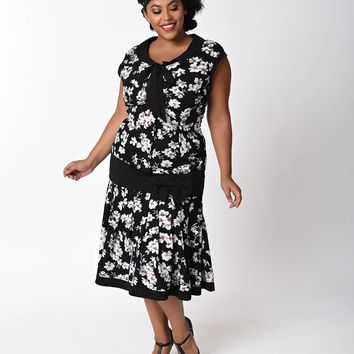 Unique Vintage Plus Size 1930s Black & Ivory Floral Twyla Flapper Day Dress