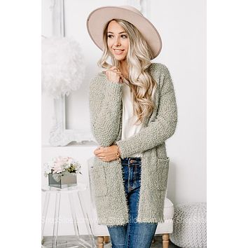 Staying Cozy Popcorn Cardigan | Sage