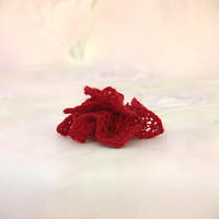 Lace Bridal Hair Flower, Elegant Wedding Accessory, Small Hand-knit Lace Flower, Bridesmaid/Flower Girl Accessory, Red