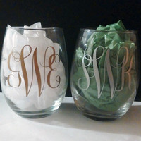 Stemless MONOGRAM 15 oz wine glasses Set of 2