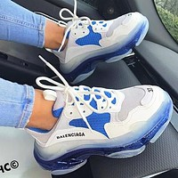 Hipgirls Balenciaga Shoes High Quality  Fashion Women Men Letters Contrast Crystal clear shoes Triple sole Shoes White+Blue