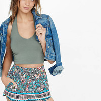 Placed Floral Print Soft Shorts from EXPRESS