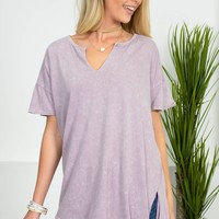 Lilac Distressed Knot Top