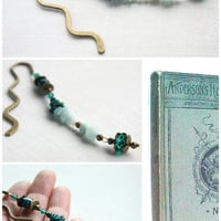 Beaded Bookmark - Natural Stone and Crystals, Bronze Wave Bookmark, Light Blue Mint Amazonite Stone and Green Azurite Chrysocolla Stone