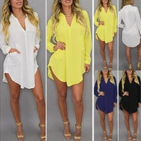 Plus Size New Women Long Sleeve V-Neck Oversize Chiffon T Shirt Top Blouse Dress S-XXXXXL [9221259012]