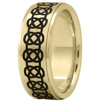 Wedding Band - Celtic Mens Ring with Black Rhodium in Yellow Gold