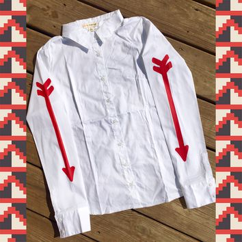 WHITE RODEO SHIRT WITH RED ARROWS