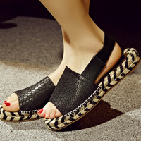 Stylish Design Flat Leather Casual Sandals [4905657732]