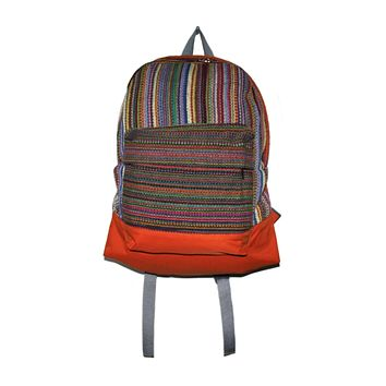Multi-color Hand-woven backpack from Nepal