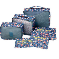 Travelling Bag 6 set travel Organizers Packing Cubes Luggage Organizers Compression Pouches Polka Dots LXB-0002