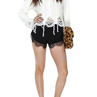 Black Shorts With Lace Hem