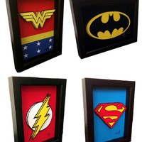 Superhero Symbols 3D Pop Art - Handmade in the USA