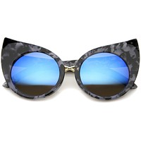Women's Round Cat Eye Marble Mirrored Lens Sunglasses A383