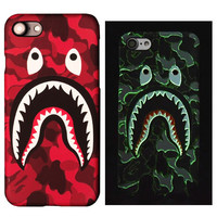 for iPhone 7 Case Luminous Bape Shark Matte PC Hard Cover for iPhone 7 Plus Fluorescence Demon Frosted Plastic Case for iPhone 7 -0328
