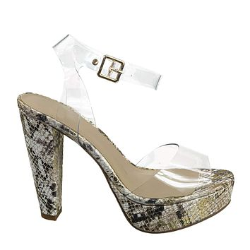 Gone Clear Lucite Heel Sandal - Womens Transparent  Ankle Strapped Platform Heel