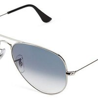 ONETOW Ray-Ban Men's Large Metal Aviator Sunglasses, Silver, 62 mm