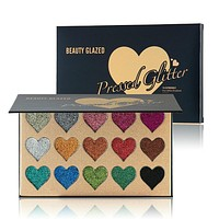 Ultra pigmented 15 pan pressed glitter hearts palette
