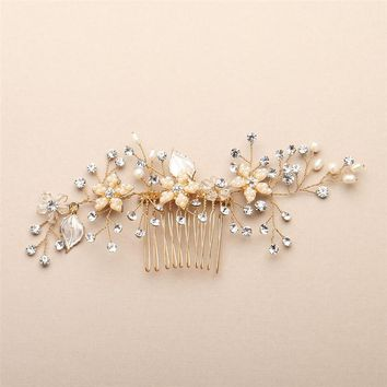 Gold Bridal Hair Comb with Leaves, Freshwater Pearl and Crystals