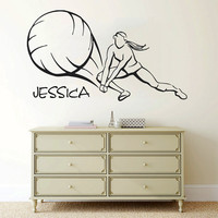 Name Wall Decal Girl Personalized Name Stickers Volleyball Vinyl Decals Sport Art Mural Home Bedroom Decor Interior Design Dorm Decor KI108