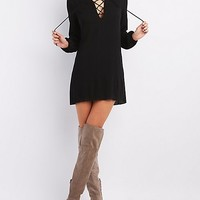 Lace-Up Mandarin Collar Shift Dress